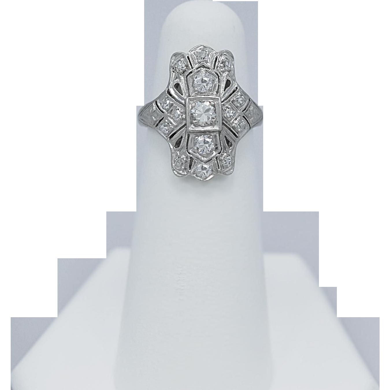 Art Deco .37ct. Diamond Antique Fashion Ring Platinum