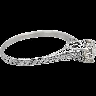 Art Deco .60ct. Diamond Antique Engagement Ring Platinum