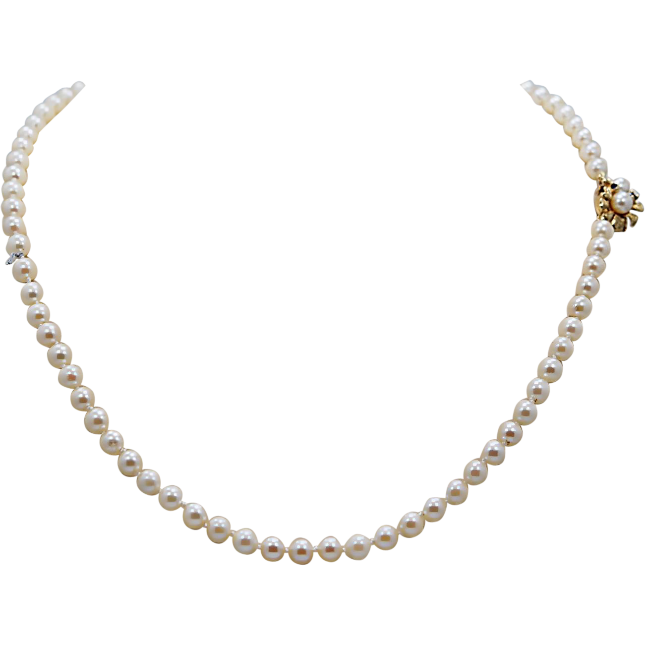 """5.7mm 30"""" Vintage Akoya Pearl Necklace Yellow Gold"""