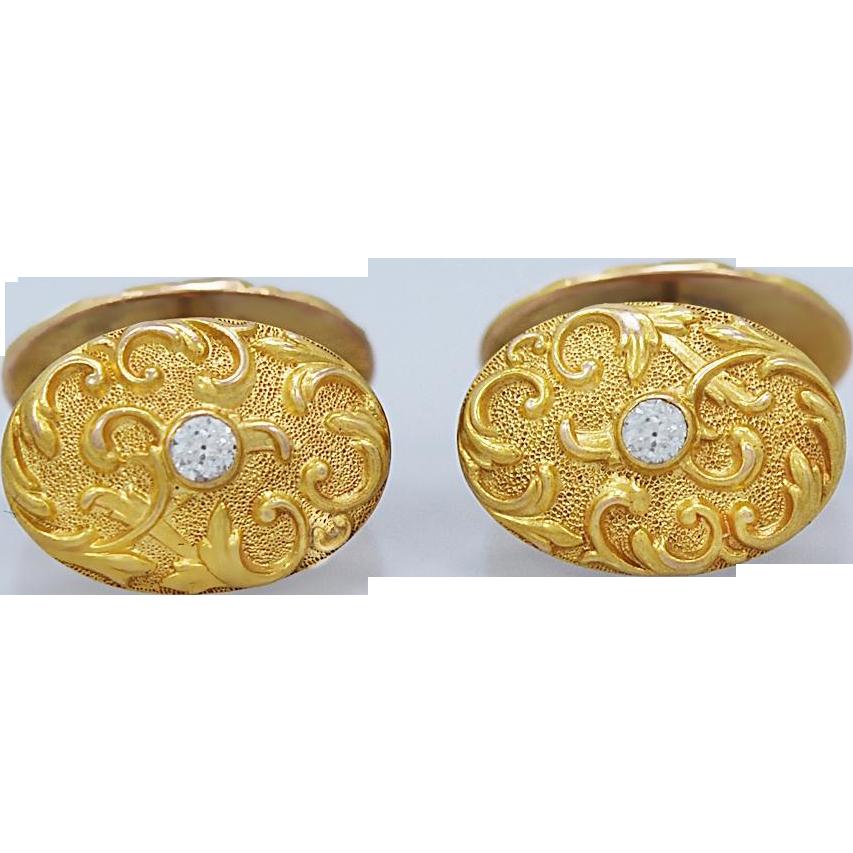 .50ct. T.W. Diamond Art Nouveau Antique Cufflinks Yellow Gold