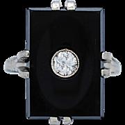 Onyx & .20ct. Diamond Art Deco Fashion Ring White Gold