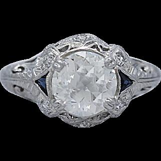 Art Deco 1.33ct. Diamond & Sapphire Antique Engagement Ring Platinum
