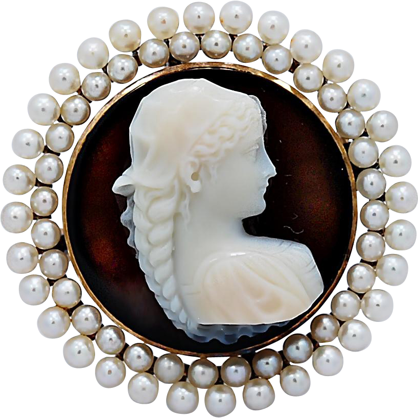 Sardonyx Antique Hardstone Cameo Signed Pin/Pendant Seed Pearls Yellow Gold