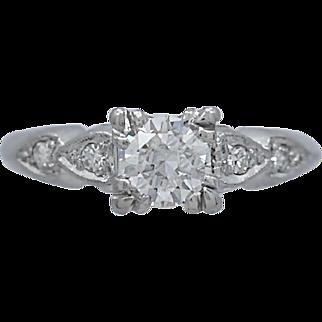 Art Deco .55ct. Diamond Antique Engagement Ring Platinum