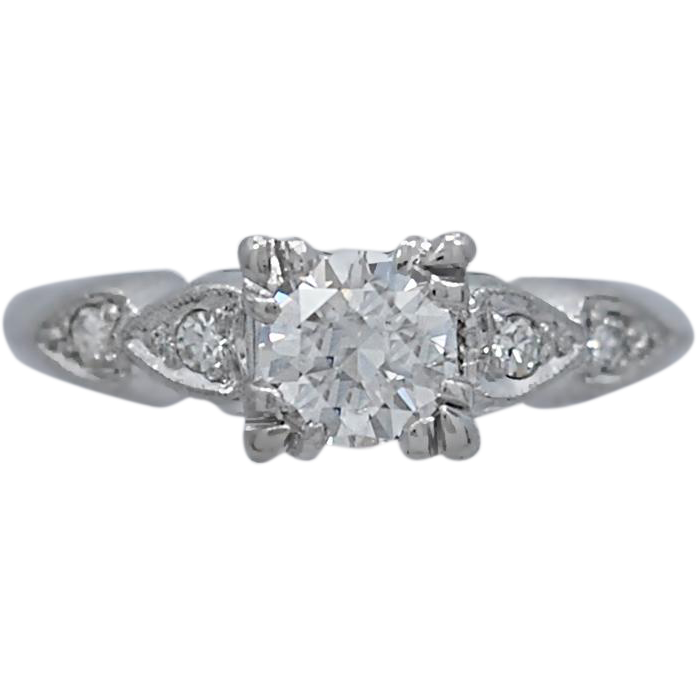 Art Deco .55ct. Diamond Antique Engagement Ring Platinum