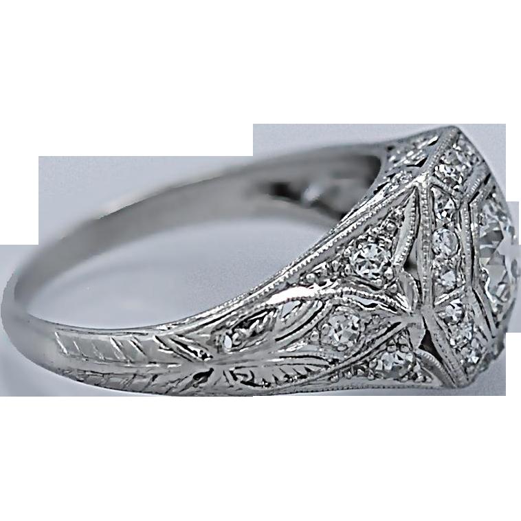 Art Deco Antique Engagement Ring .50ct. Diamond Platinum