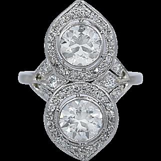 Art Deco Double Diamond Antique Engagement - Fashion Ring 1.25ct. & 1.20ct. Platinum