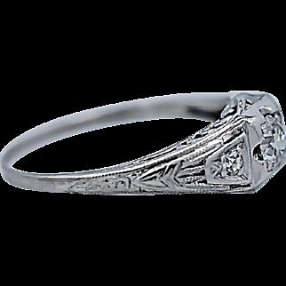 Art Deco .23ct. Diamond Antique Engagement Ring Platinum