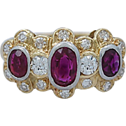 1.35ct. T.W. Ruby and Diamond Edwardian Engagement - Fashion Ring 14K Yellow Gold