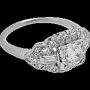 Art Deco .70ct. Diamond Antique Engagement Ring Platinum