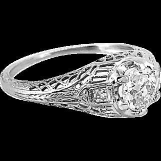 Antique .71ct. Diamond Engagement Ring 18k White Gold