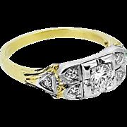 Art Deco .25ct. Diamond Antique Engagement Ring Yellow Gold