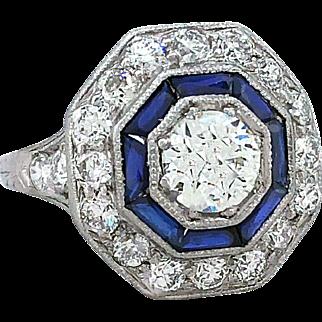 Art Deco .73ct. Diamond & Sapphire Antique Engagement - Fashion Ring Platinum GIA Certificate