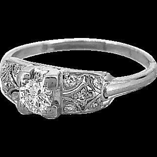 Antique .33ct. Diamond Engagement Ring Platinum Granat Brothers