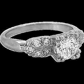 .75ct. Diamond Art Deco Antique Engagement Ring Platinum