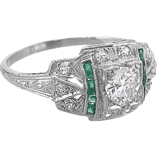 Art Deco .50ct. Diamond & .25ct. T.W. Emerald Antique Engagement Ring Platinum