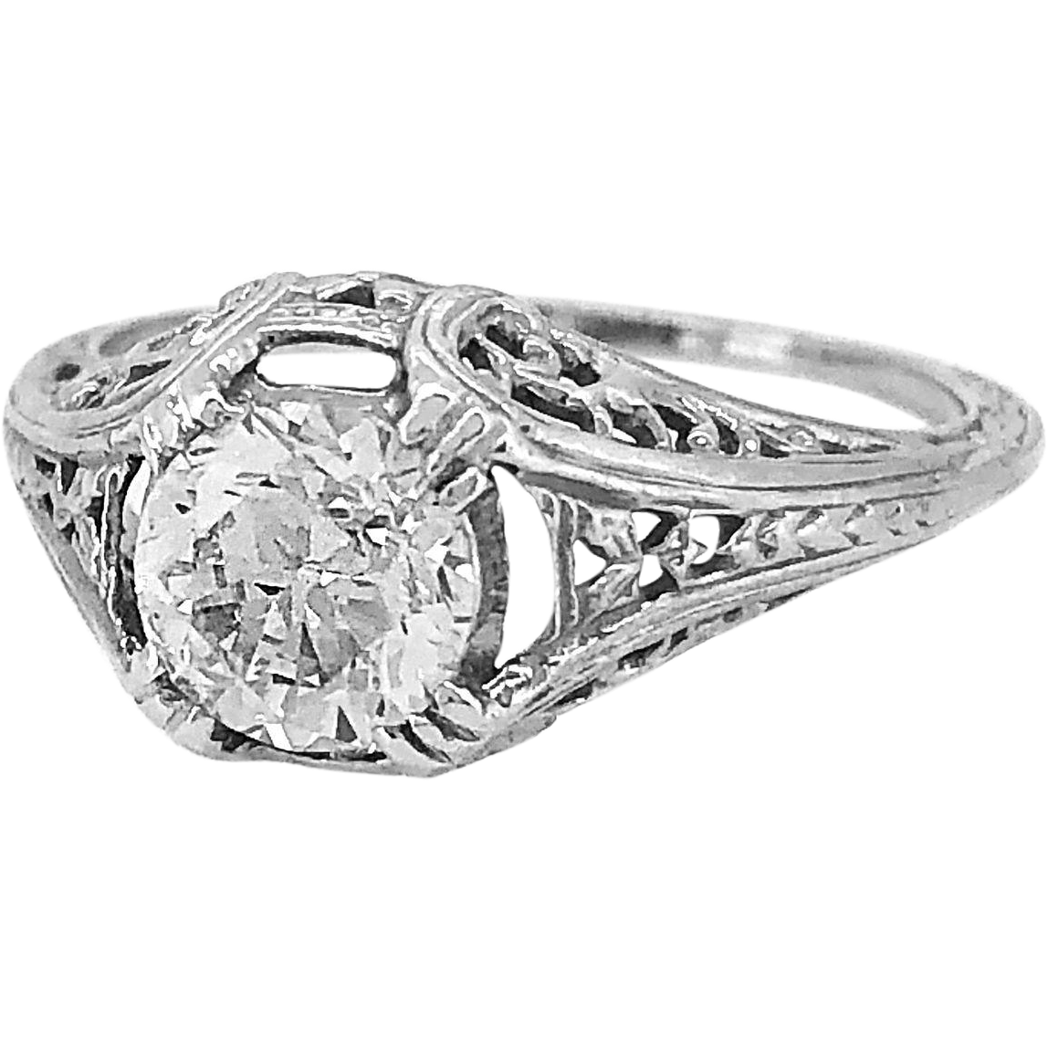 1.01ct. Diamond & White Gold Art Deco Engagement Ring - J34008