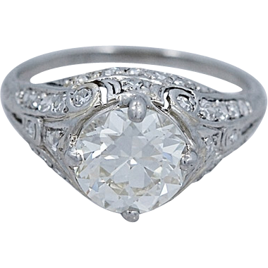 Engagement Ring Art Deco 1.87ct. Diamond & Platinum - J34125