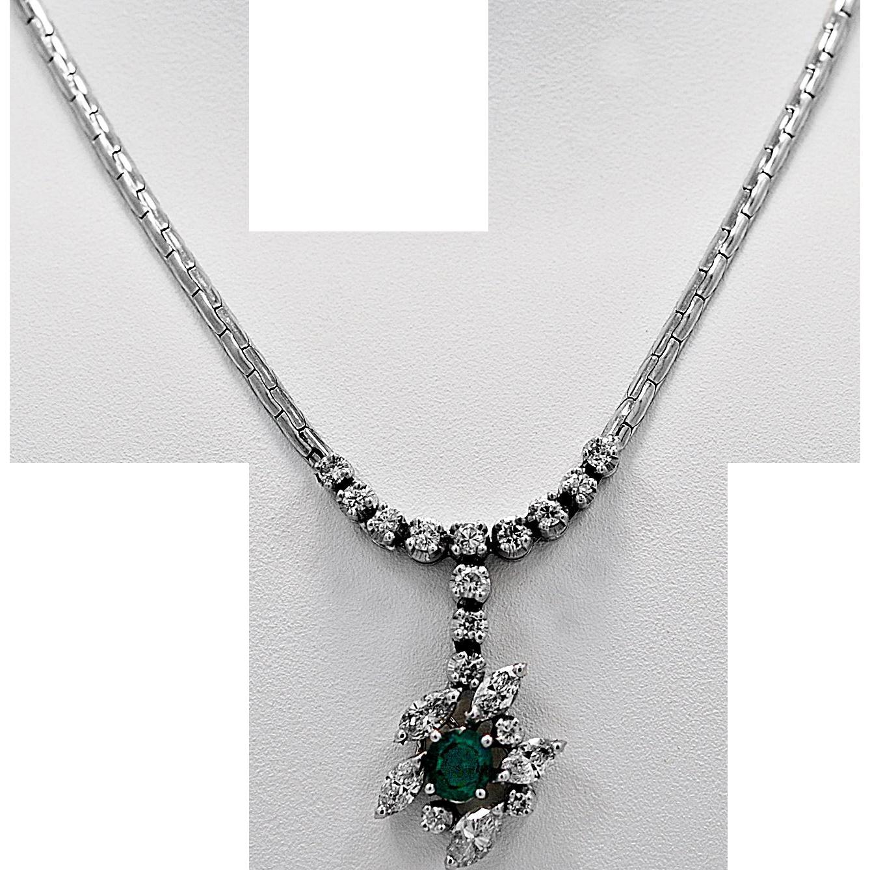 Estate Necklace 2.00ct. Diamond, Emerald & White Gold - J36159