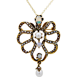 Antique Necklace - Brooch .33ct. T.W. Opal, Seed Pearls & Yellow Gold Art Nouveau - J36160