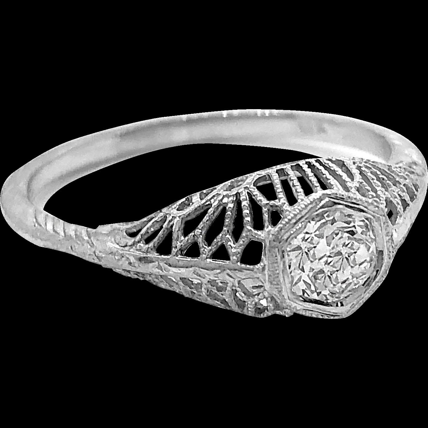 Antique Engagement Ring .25ct. Diamond & 18K White Gold - J36180