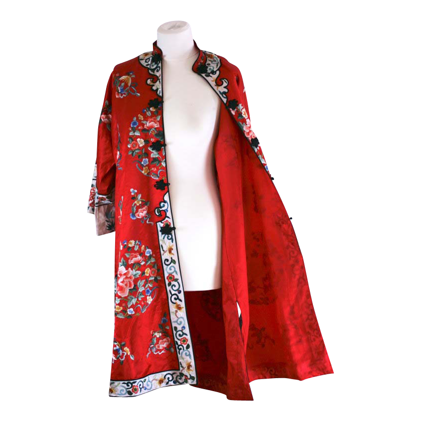 Chinese Vintage Embroidered Silk Red Dress - Coat / Long Jacket ...