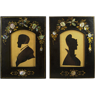 Pair of Antique Early Victorian Silhouettes in original Great MOP Frames