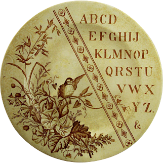 Vintage ABC Plate with bird in a tree