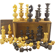 "Vintage carved Wood Chess Set - 4"" King - with Box"