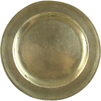 18th Century Antique American Pewter Plate - Signed