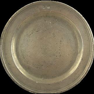 18th century English Pewter plate by Samuel Ellis.