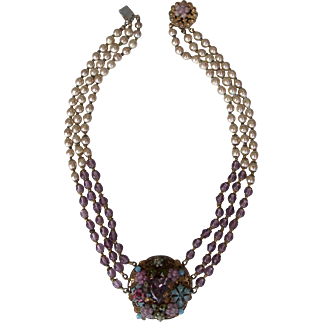 Miriam Haskell Necklace - Multi colored