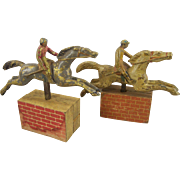 Pair of Very Early Cast Iron Steeplechase Horses - Game Pieces