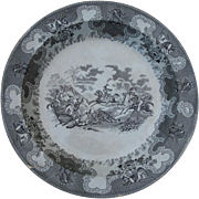 Texian Campaigne 17 inch Round Platter depicting battle of Resaca de la Palma on May 16, 1846.