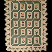 Vintage 1928 Handmade Prize Winning Botanical Album Quilt