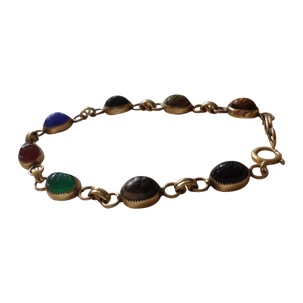 Vintage 14kt yellow gold natural stone scarab bracelet from rubylane