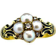 An Antique English Ladies Victorian 18k Gold Locket Diamond and Pearl set ring London 1850
