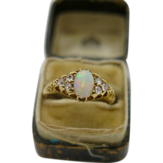 A Beautiful Antique English Victorian 18k Gold Opal & Diamond  Ladies dress ring 1899