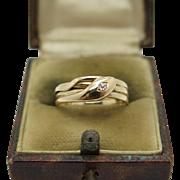 An English Victorian 18k diamond snake ring Hallmarked Birmingham 1895