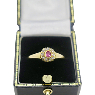 A Superb Victorian 18k yellow gold ruby & diamond cluster ring.