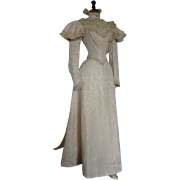 Silk Brocade Wedding Dress, Bridal Gown, Victorian Dress, Antique Dress, Antique Gown, ca. 1895