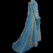 Blue Cotton Morning Dress, Antique Dress, Antique Gown, Victorian Dress, ca. 1870