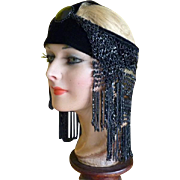 Jet Beaded Headpiece and Velvet Headband, 1920s