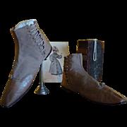 Romantic Period Boots, Antique Shoes, Antique Boots, ca. 1830
