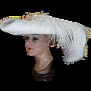 Edwardian Tri-Corner Hat, Antique Hat, Edwardian Hat, Titanic Era, Titanic Period, ca. 1909