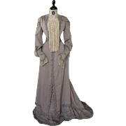 Dove Grey Reception Gown, Antique Dress, Edwardian Gown, Walking Dress, Afternoon Dress, ca. 1901