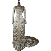 Princess Style Wedding Gown, Victorian Dress, Antique Gown, Antique Bridal Gown, Antique Wedding Dress, ca. 1879