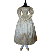 Romantic Period Wedding Gown, Vest and Slippers, Antique Shoes, Antique Slippers, Antique Wedding Gown, Antique Dress, Victorian Gown, Bridal Dress, Antique Vest, Waistcoat, ca. 1835