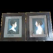 Two Empire Pastel Portraits, Antique Portraits, dated 1813