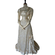 DEMPSEY Princess Lace Wedding Gown, Antique Bridal Dress, Antique Wedding Gown, Edwardian, ca. 1908